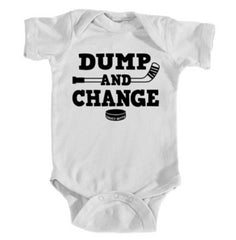 dump and change hockey infant onesie white