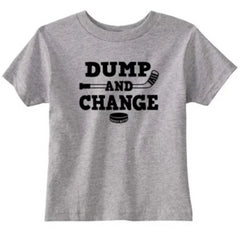 dump and change hockey infant toddler shirt heather gray