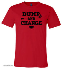 dump and change hockey shirt red
