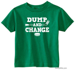 Dump and Change Hockey Toddler Shirt - White kelly green