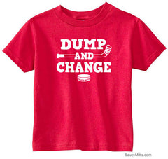 Dump and Change Hockey Toddler Shirt - White red