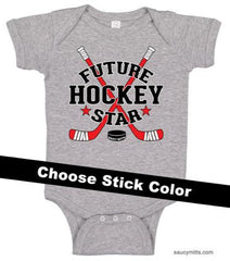 future hockey star baby bodysuit heather gray