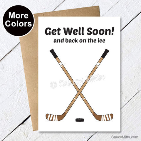 Get Well Soon Hockey Card - Crossed Sticks