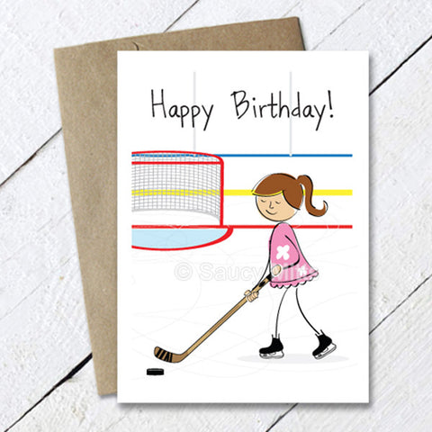 Girls Hockey Cartoon Birthday Card