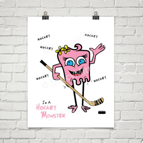 Girls Hockey Monster Poster