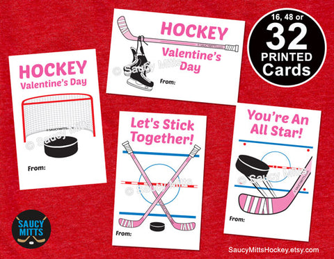 Girls Pink Hockey Valentines 32 Cards - Hockey Elements