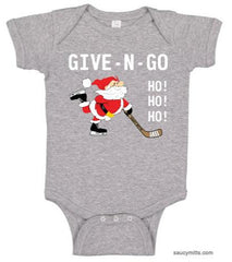 Give N Go Hockey Santa Baby Bodysuit heather gray