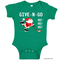 Give N Go Hockey Santa Baby Bodysuit kelly green