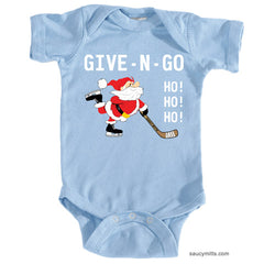 Give N Go Hockey Santa Baby Bodysuit light blue