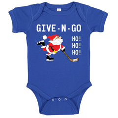 Give N Go Hockey Santa Baby Bodysuit royal blue
