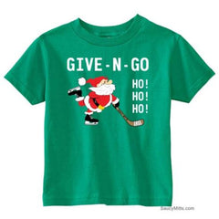 Give N Go Hockey Santa Toddler Shirt kelly green