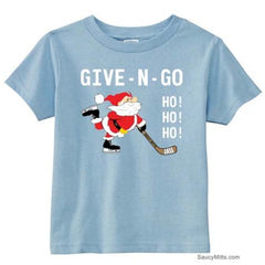 Give N Go Hockey Santa Toddler Shirt light blue