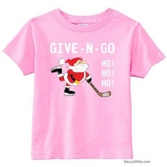 Give N Go Hockey Santa Toddler Shirt light pink