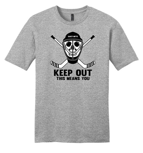 goalie hockey skull shirt keep out heather gray