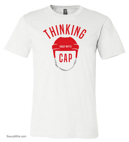 hockey thinking cap shirt white