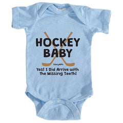 hockey baby missing teeth infant onesie light blue