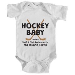 hockey baby missing teeth infant onesie white