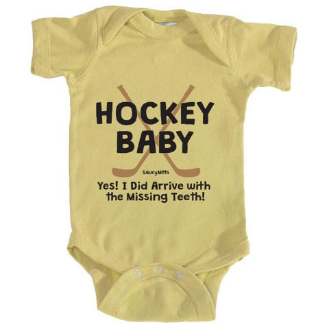 hockey baby missing teeth infant onesie yellow