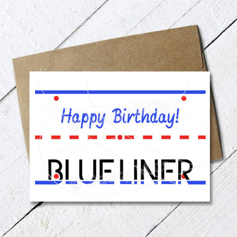 Hockey Birthday Card Blue Liner