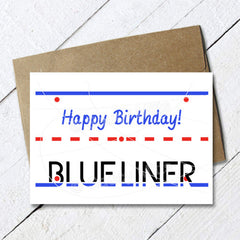 hockey birthday card blue liner defense