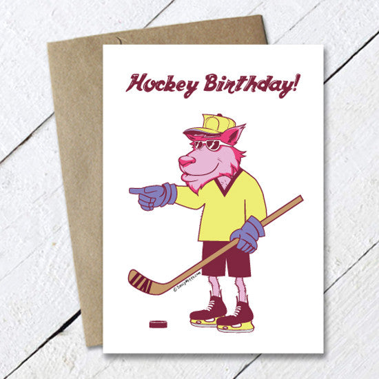 cool wolf hockey birthday card