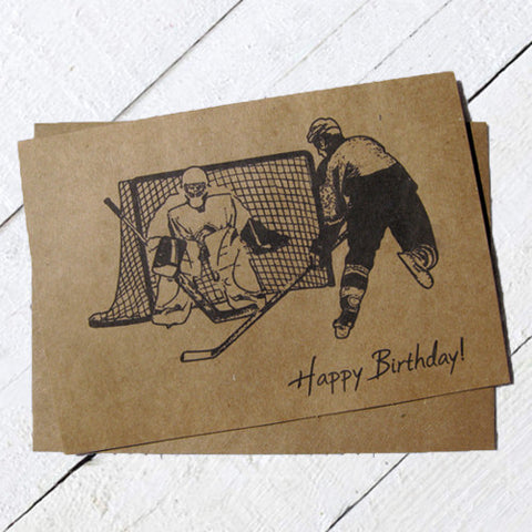 Hockey Birthday Card Ink Sketch