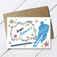hockey birthday card scribble sketch