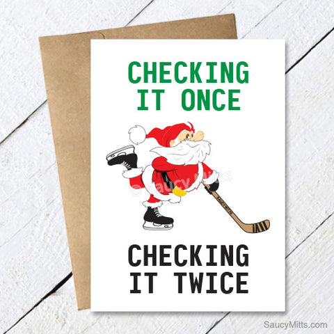 Checking It Once Checking It Twice Hockey Santa Christmas Card