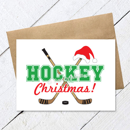 hockey Christmas card hockey sticks santa hat