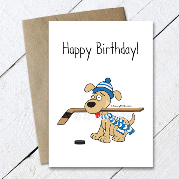 hockey dog birthday card