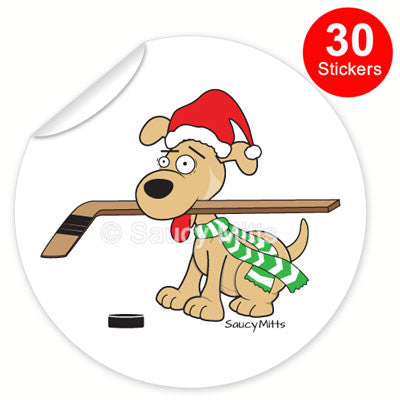30 hockey dog christmas stickers