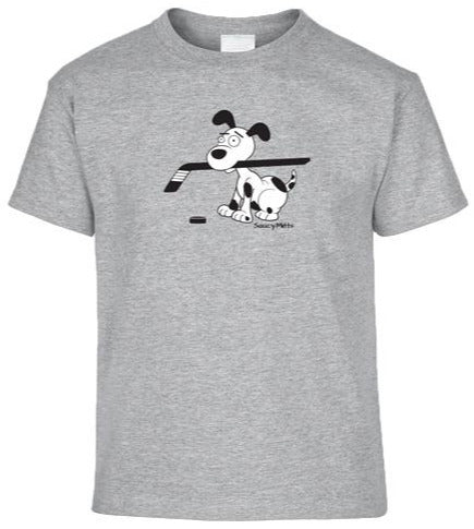 hockey dog youth kids shirt heather gray