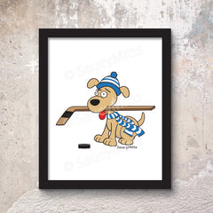 hockey dog poster print