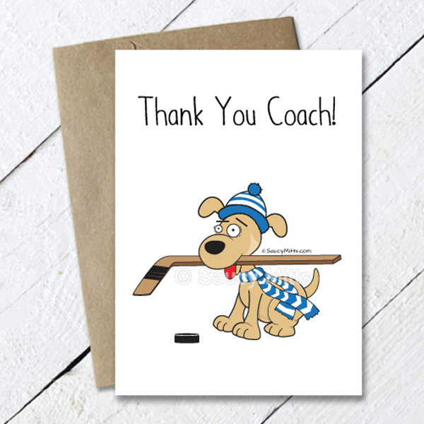 hockey dog thank you coach card
