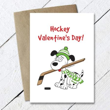 Hockey Valentine's Day Dog Card