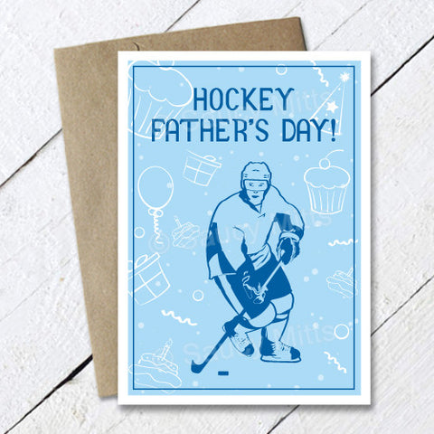 Hockey Fathers Day Card Balloons and Presents