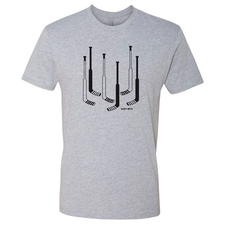 hockey goalie sticks shirt heather gray