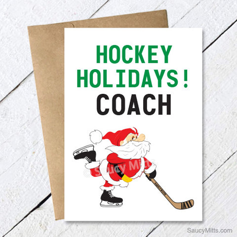 Hockey Coach Christmas Card - Hockey Holidays Santa