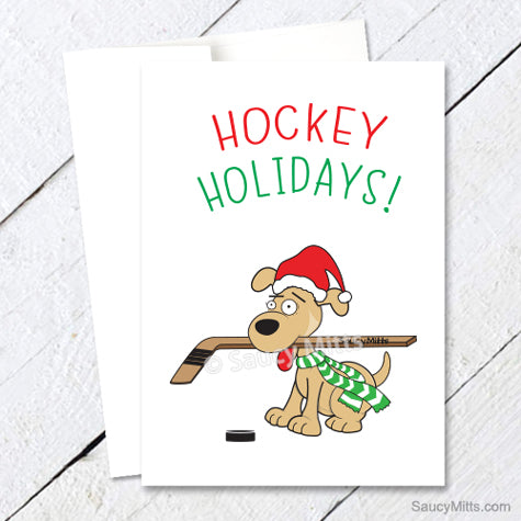 Hockey Dog Christmas Card