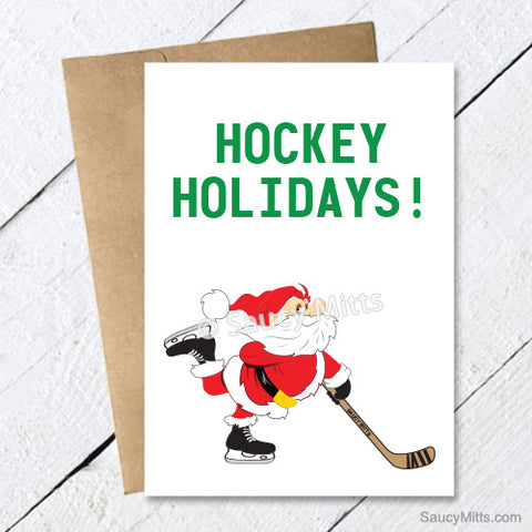 Hockey Holidays Santa Christmas Card