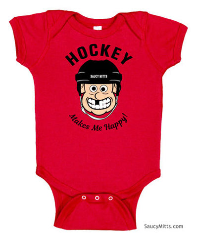 Hockey Makes Me Happy Baby Bodysuit