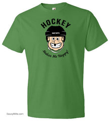 Hockey Makes Me Happy Youth Shirt green apple