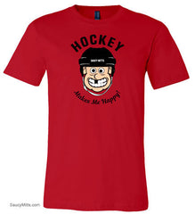 Hockey Makes Me Happy Youth Shirt red