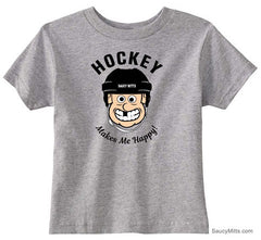 Hockey Makes Me Happy Toddler Shirt heather gray