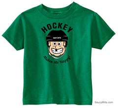 Hockey Makes Me Happy Toddler Shirt kelly green