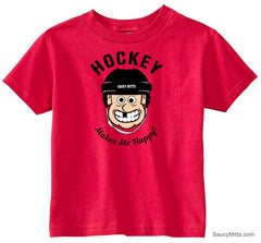 Hockey Makes Me Happy Toddler Shirt red