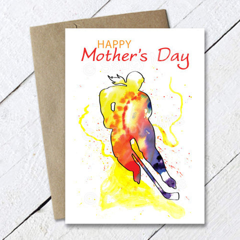 Hockey Mother's Day Card - Watercolor