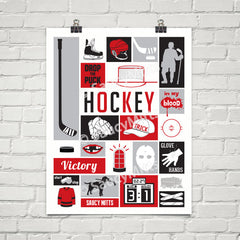 my game hockey poster print red