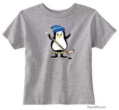 Hockey Penguin Toddler Shirt blue hat