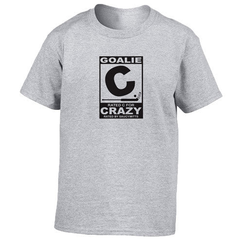 6fe8e9e9a rated c for crazy hockey goalie youth shirt heather gray